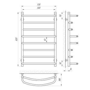 Схема Водяной полотенцесушитель Laris Евромикс 500x800 П8