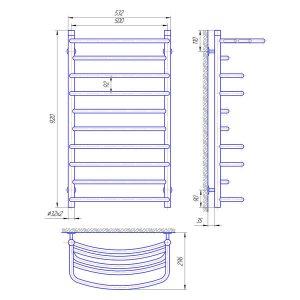 Схема Водяной полотенцесушитель Laris Евромикс 500x900 П10 с полкой