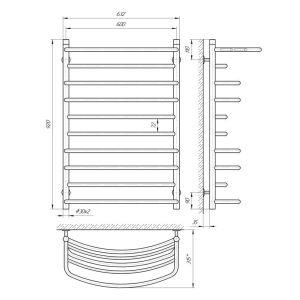 Схема Водяной полотенцесушитель Laris Евромикс 600x900 П10 с полкой