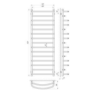 Схема Водяной полотенцесушитель Laris Евромикс 500x1500 П15
