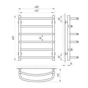 Схема Водяной полотенцесушитель Laris Евромикс 450x600 П6