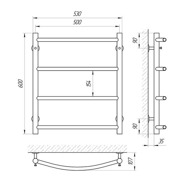 Схема Водяной полотенцесушитель Laris Флеш 500x600 П4