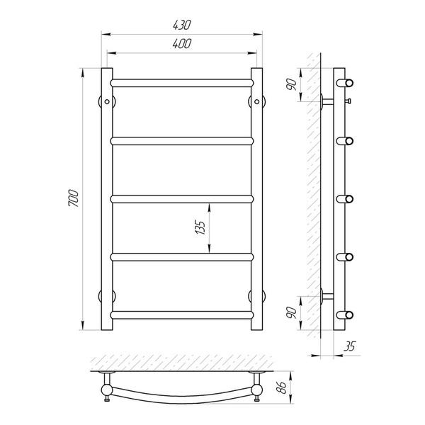 Схема Водяной полотенцесушитель Laris Флеш 400x700 П5