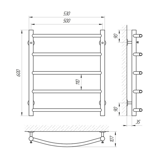 Схема Водяной полотенцесушитель Laris Флеш 500x600 П5