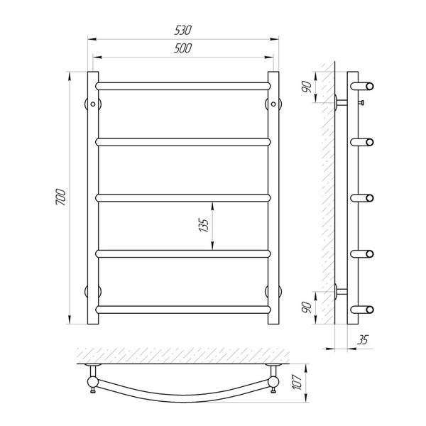 Схема Водяной полотенцесушитель Laris Флеш 500x700 П5