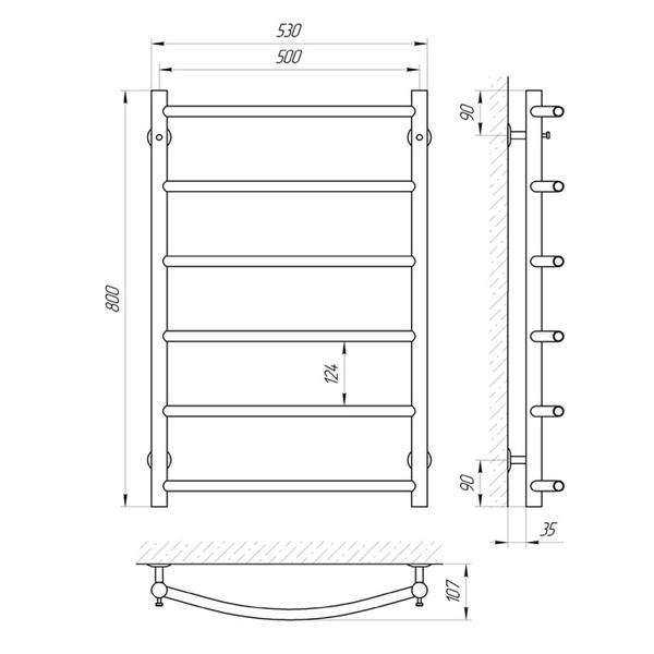 Схема Водяной полотенцесушитель Laris Флеш 500x800 П6