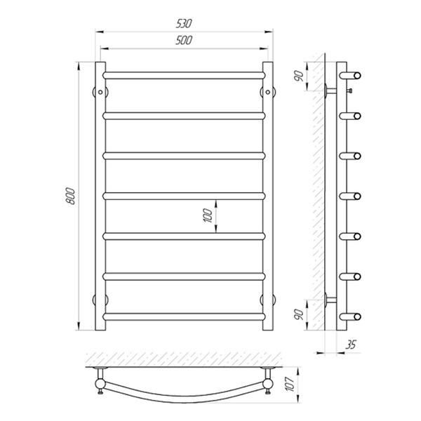 Схема Водяной полотенцесушитель Laris Флеш 500x800 П7