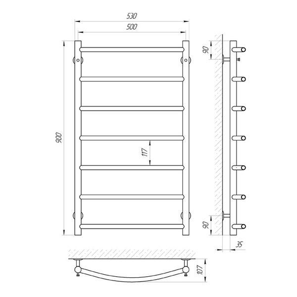 Схема Водяной полотенцесушитель Laris Флеш 500x900 П7