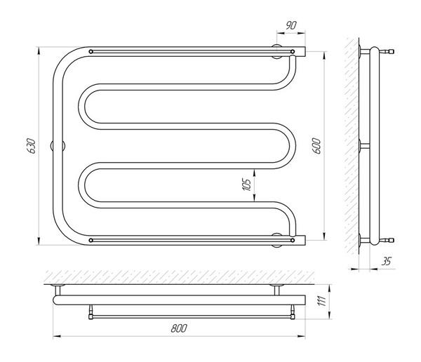 Схема Водяной полотенцесушитель Laris Фокстрот П 800x600