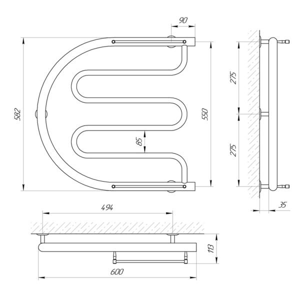 Схема Водяной полотенцесушитель Laris Фокстрот-арка П 600x550