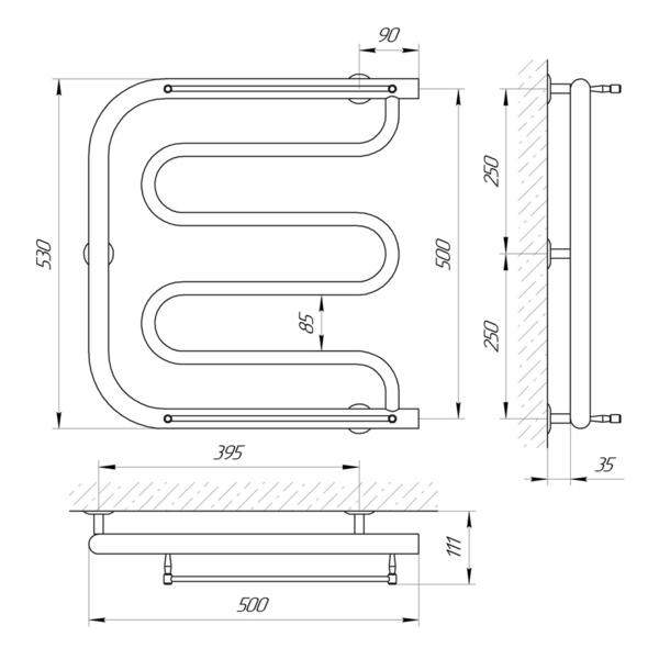 Схема Водяной полотенцесушитель Laris Фокстрот П 500x500