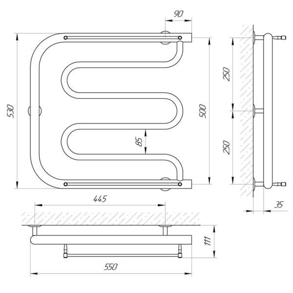 Схема Водяной полотенцесушитель Laris Фокстрот П 550x500