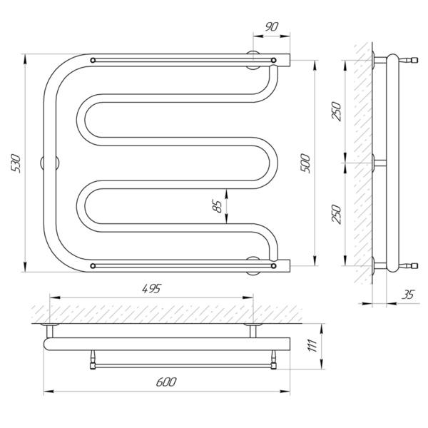 Схема Водяной полотенцесушитель Laris Фокстрот П 600x500