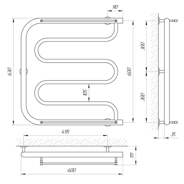 Схема Водяной полотенцесушитель Laris Фокстрот П 600x600