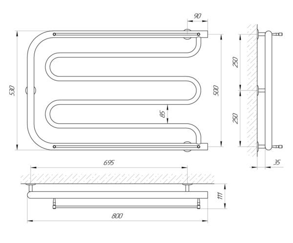 схема Водяной полотенцесушитель Laris Фокстрот П 800x500