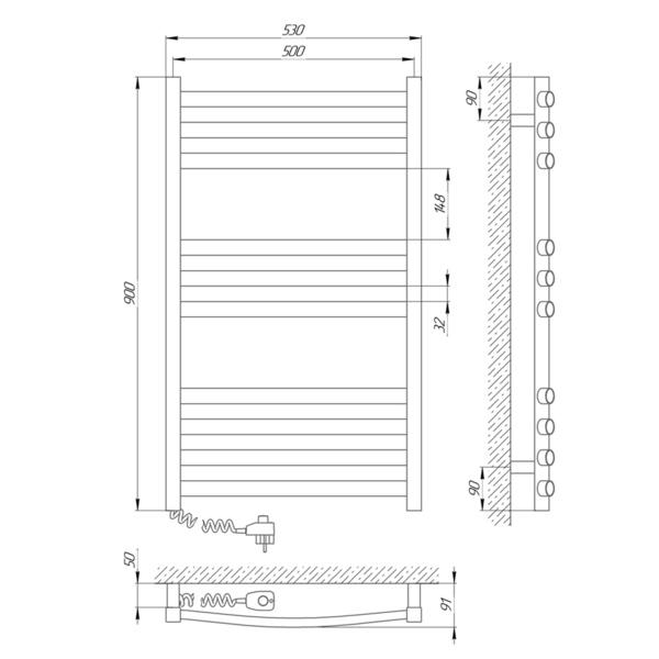 Схема Электрический полотенцесушитель Laris Гранд 500х900 Э П10 (подключение слева)