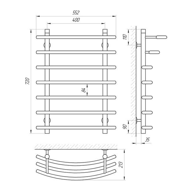 Схема Водяной полотенцесушитель Laris Каскад 400x700 П7