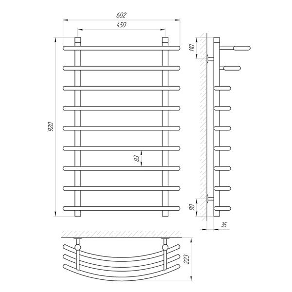 Схема Водяной полотенцесушитель Laris Каскад 400x900 П9