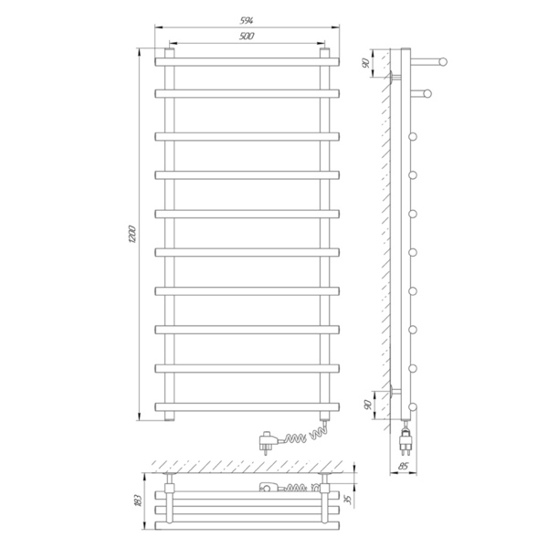 Схема Электрический полотенцесушитель Laris Каскад премиум 500х1200 Э П10 (подключение справа)