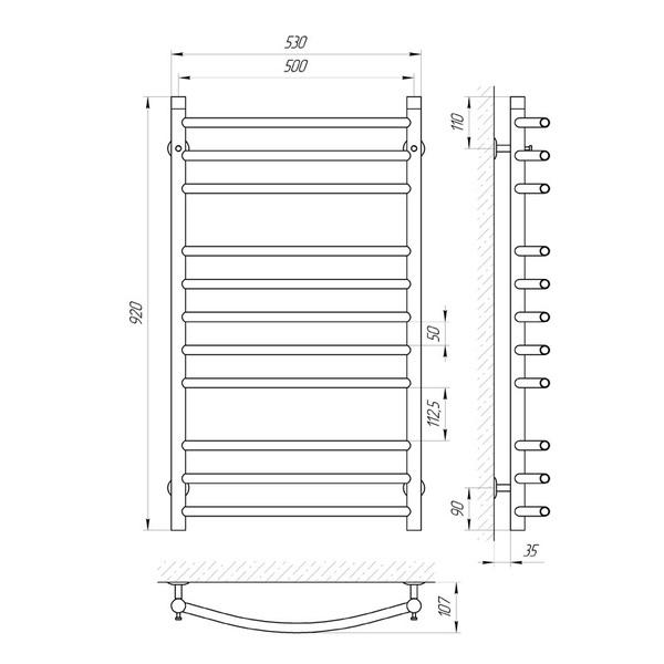 схема Водяной полотенцесушитель Laris Классик 500x900 П11