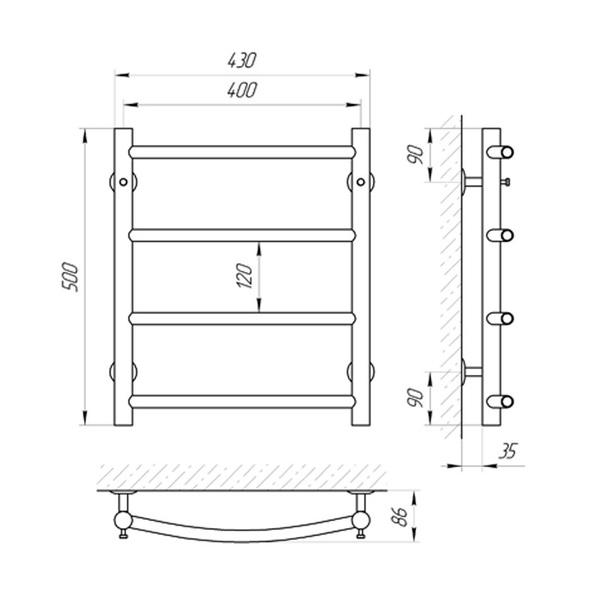 Схема Водяной полотенцесушитель Laris Классик 400x500 П4