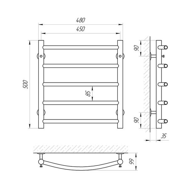 Схема Водяной полотенцесушитель Laris Классик 450x500 П5