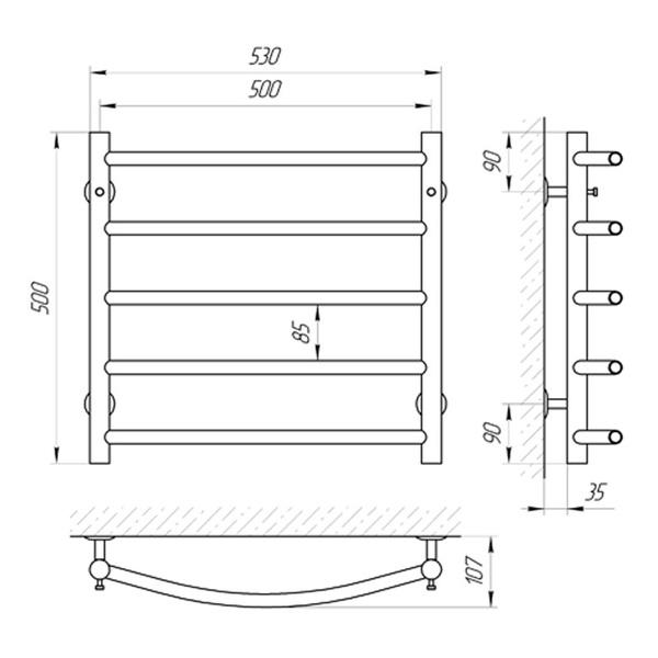 Схема Схема Водяной полотенцесушитель Laris Классик 500x500 П5