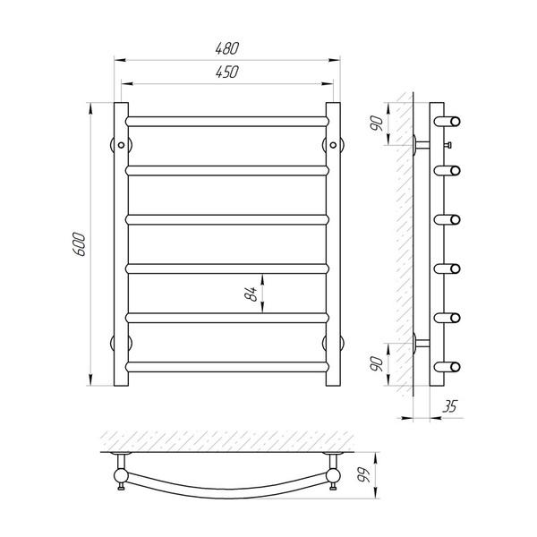 Схема Водяной полотенцесушитель Laris Классик 450x600 П6