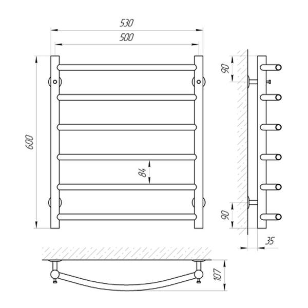 Схема Водяной полотенцесушитель Laris Классик 500x600 П6