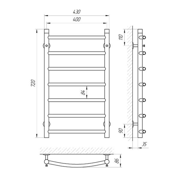 Схема Водяной полотенцесушитель Laris Классик 400x700 П7