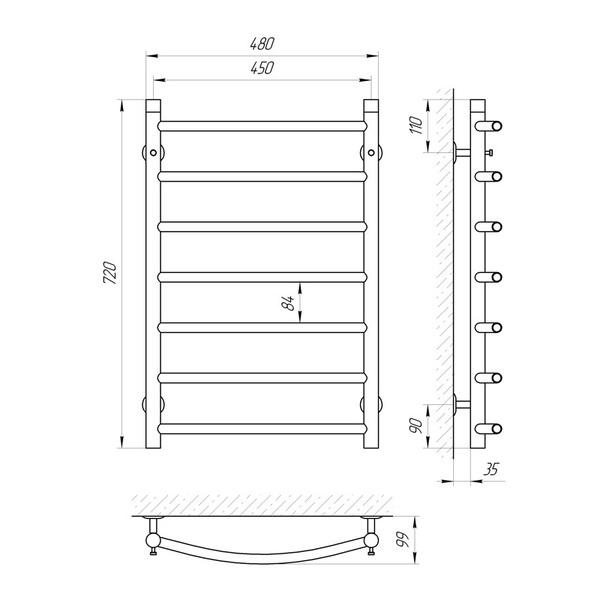 Схема Водяной полотенцесушитель Laris Классик 450x700 П7