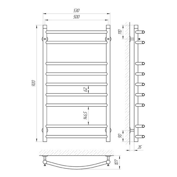 Схема Водяной полотенцесушитель Laris Классик 500x900 П9