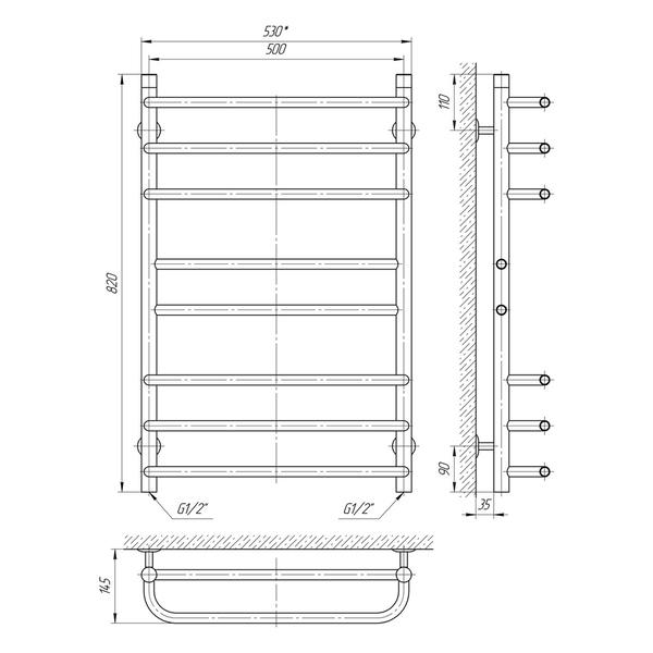 Схема Водяной полотенцесушитель Laris Кватро Комфорт 500x800 П8