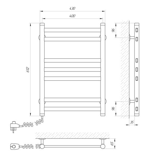 Схема Электрический полотенцесушитель Laris Кватро 400х600 Э П7 (подключение слева)