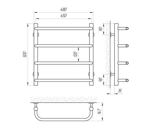 Схема Водяной полотенцесушитель Laris Стандарт 450x500 П4