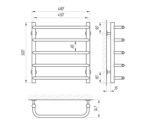 Схема Водяной полотенцесушитель Laris Стандарт 450x500 П5