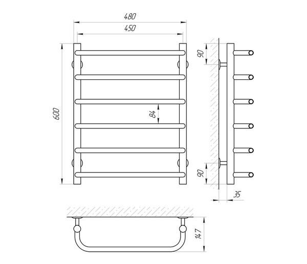 Схема Водяной полотенцесушитель Laris Стандарт 450x600 П6