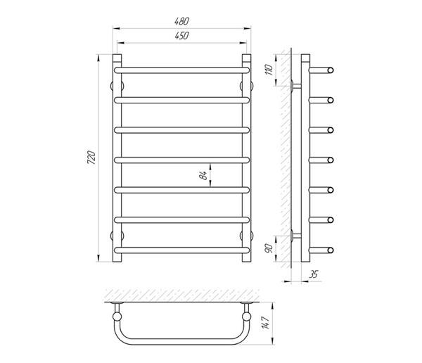 Схема Водяной полотенцесушитель Laris Стандарт 450x700 П7
