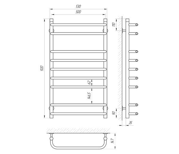 Схема Водяной полотенцесушитель Laris Стандарт 500x900 П9