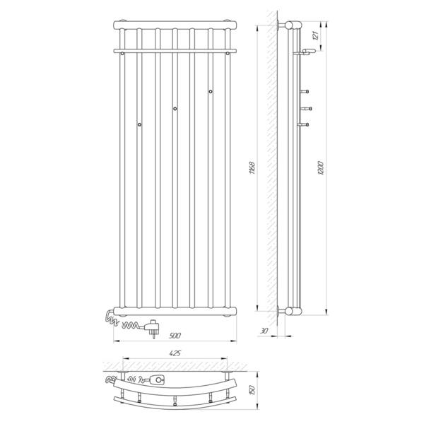Схема Электрический полотенцесушитель Laris Ларис 500х1200 Э (подключение слева)