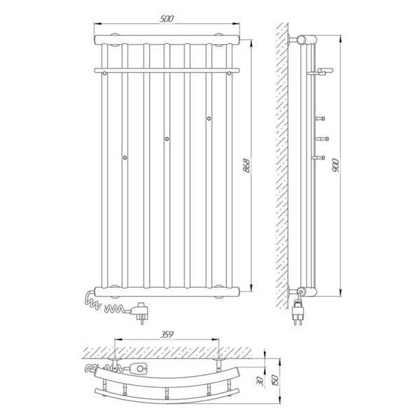 Схема Электрический полотенцесушитель Laris Ларис 500х900 Э П9 (подключение слева)