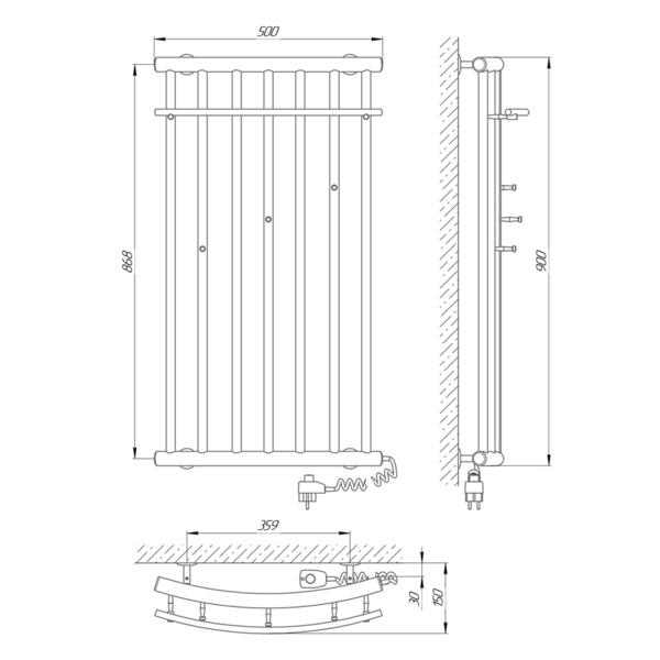 Схема Электрический полотенцесушитель Laris Ларис 500х900 Э П9 (подключение справа)