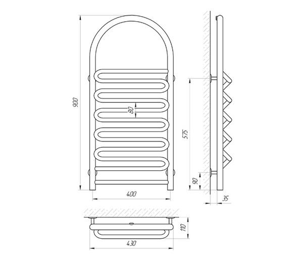Схема Водяной полотенцесушитель Laris Лиана П 400x900