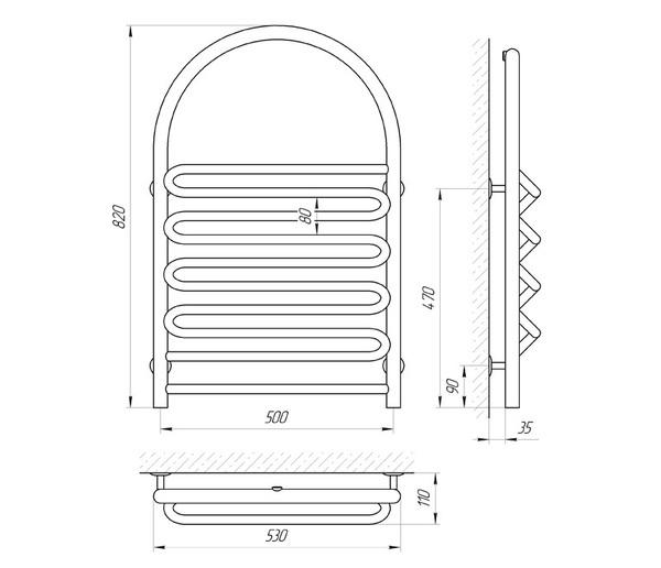 Схема Водяной полотенцесушитель Laris Лиана П 500x820