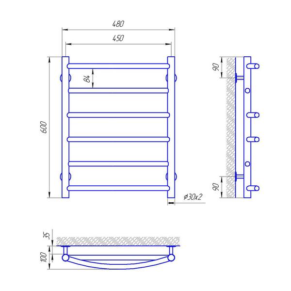 Схема Водяной полотенцесушитель Laris Микс 450x600 П6