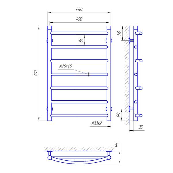Схема Водяной полотенцесушитель Laris Микс 450x700 П7