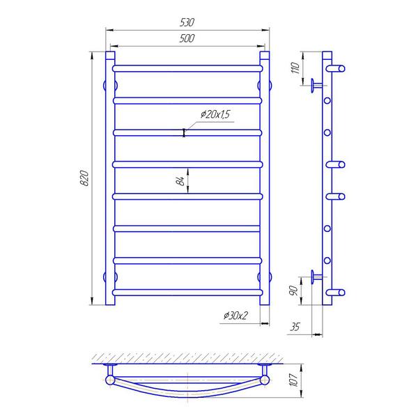 Схема Водяной полотенцесушитель Laris Микс 500x800 П8