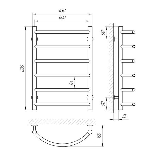 Схема Водяной полотенцесушитель Laris Омега 400x600 П6