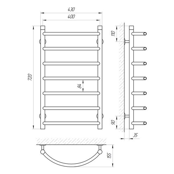 Схема Купить Водяной полотенцесушитель Laris Омега 400x700 П7