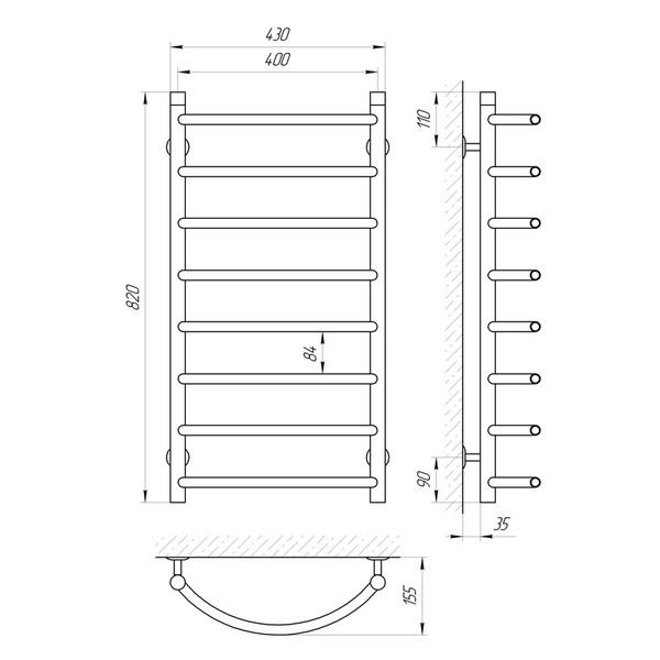 Схема Водяной полотенцесушитель Laris Омега 400x800 П8
